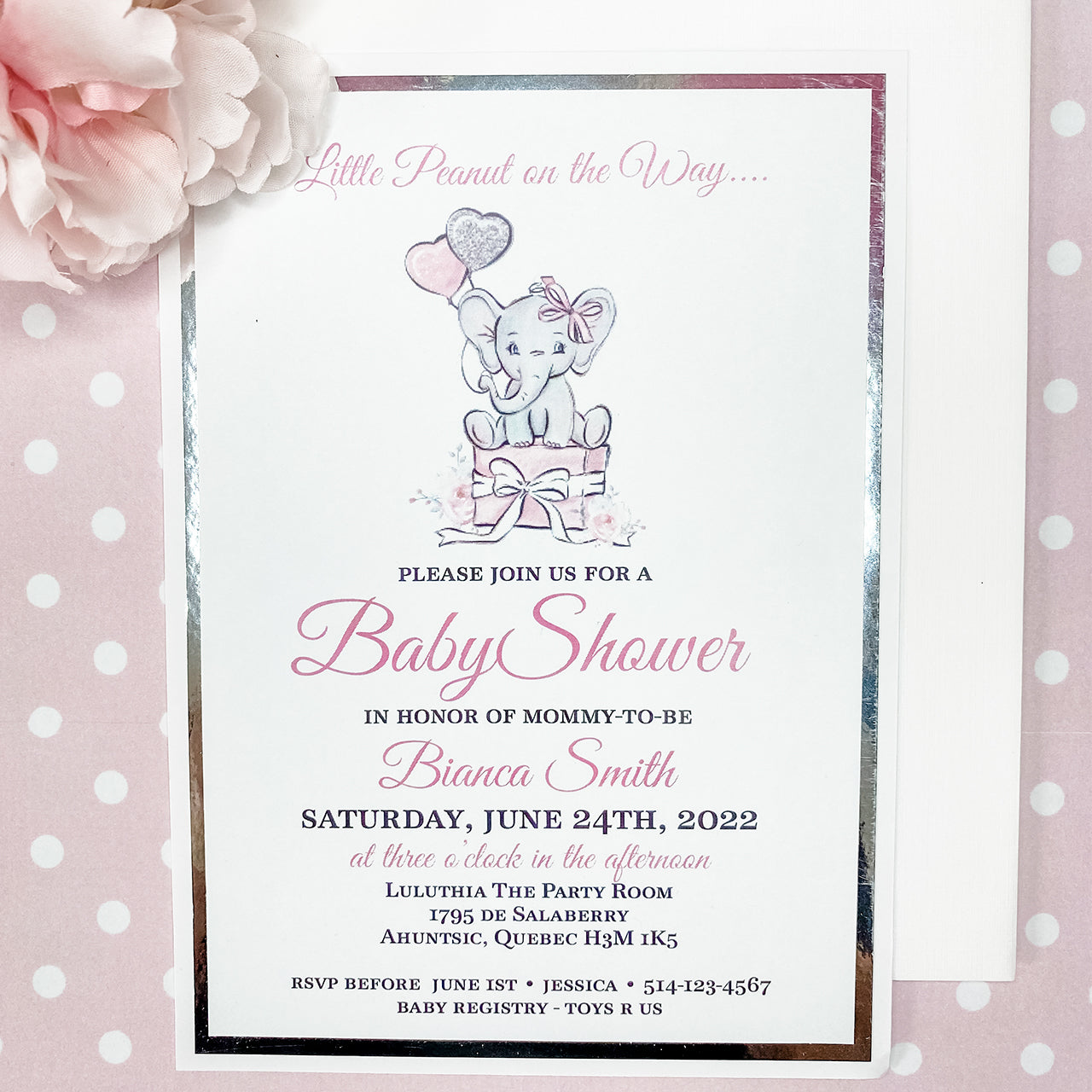 LITTLE PEANUT ON THE WAY - IT'S A GIRL INVITATION CARD