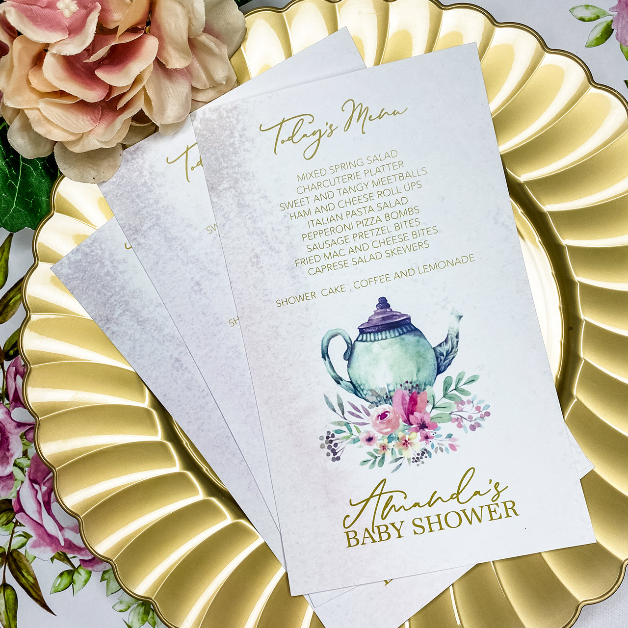 TEA WITH MOMMY-TO-BE MENU CARDS