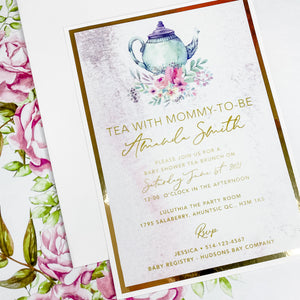 TEA WITH MOMMY-TO-BE INVITATION CARD