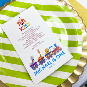 CIRCUS 1ST BIRTHDAY FUN CARNIVAL MENU CARDS