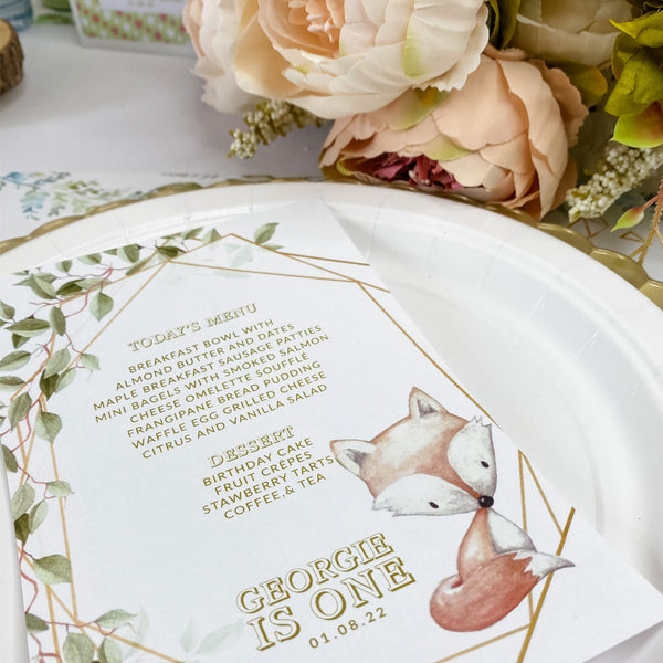 WILD ONE WOODLAND FOX THEME MENU CARDS