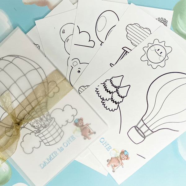 HOT AIR BALLOON BLUE BIRTHDAY THEME COLOURING SET PARTY FAVOUR