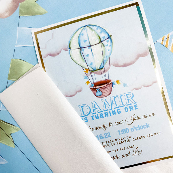 UP UP AND AWAY FIRST BIRTHDAY INVITATION CARD