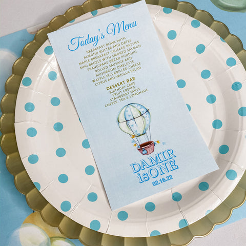 UP UP AND AWAY FIRST BIRTHDAY MENU CARDS