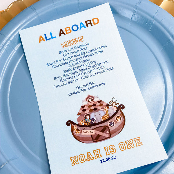 NOAH'S ARK BIRTHDAY, BOY FIRST BIRTHDAY MENU CARDS