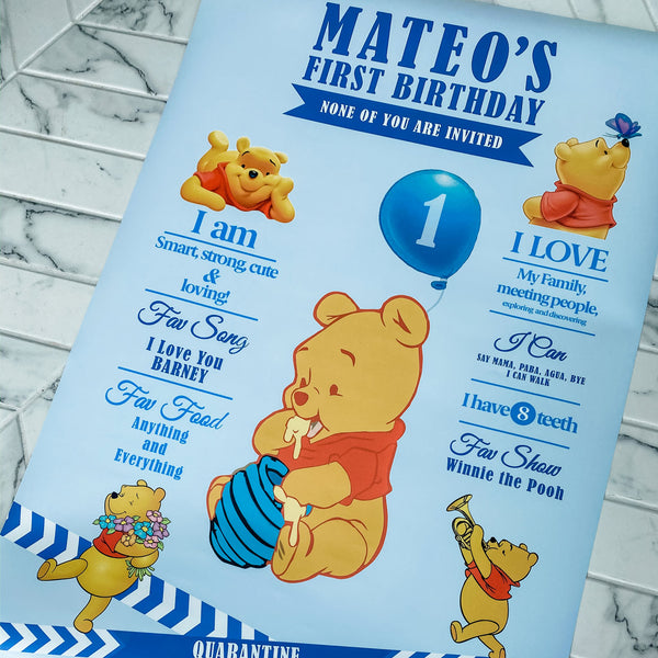 WINNIE THE POOH'S FIRST BIRTHDAY MILESTONE PERSONALIZED POSTER, FUN FACTS & ACHIEVEMENTS