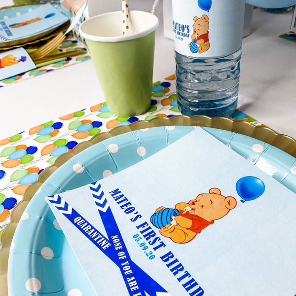 WINNIE THE POOH'S FIRST BIRTHDAY QUARANTINE GUEST SEATING PLACE CARDS