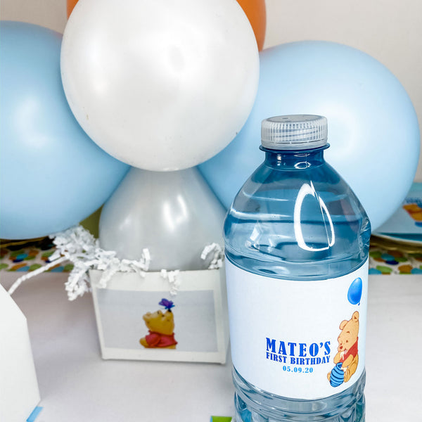 WINNIE THE POOH'S FIRST BIRTHDAY WATER BOTTLE WRAP KIT