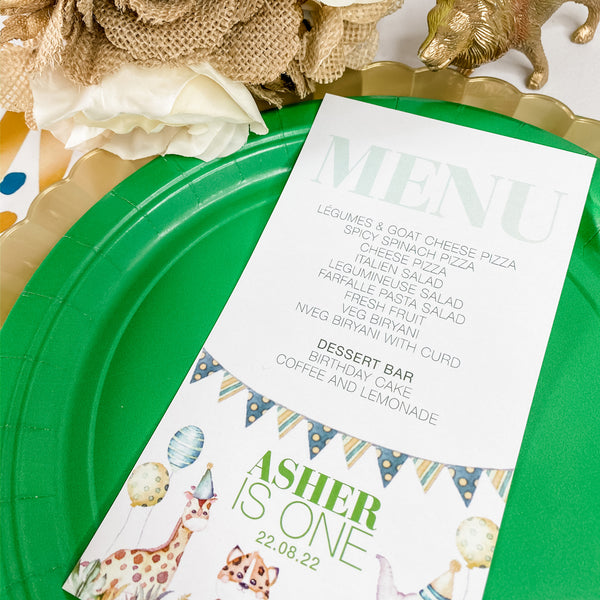 WILD ONE ANIMAL SAFARI THEME BIRTHDAY MENU CARDS