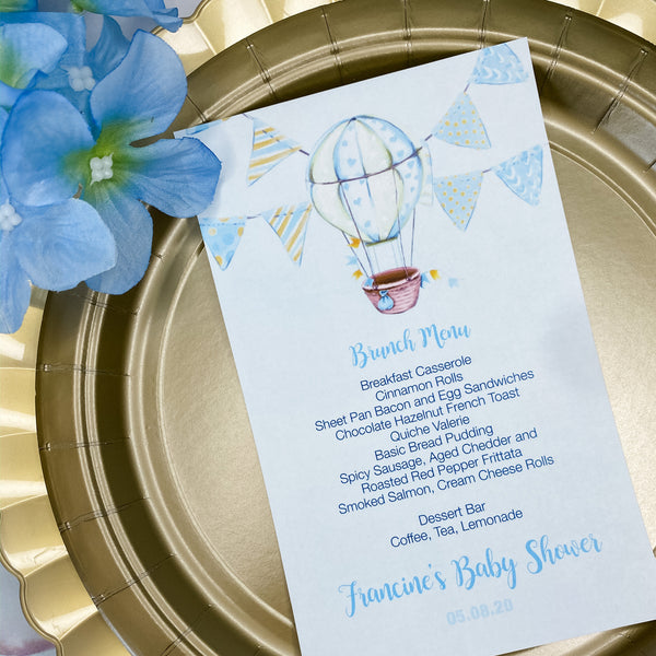 HOT AIR BALLOON - IT'S A BOY MENU CARDS
