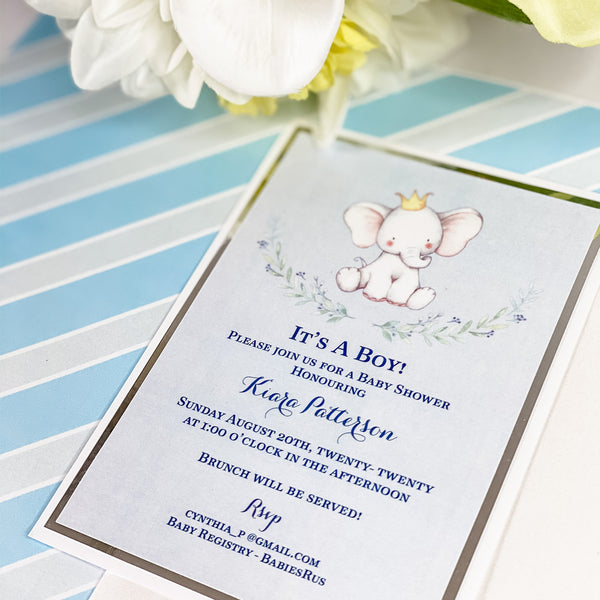 LITTLE PEANUT ON THE WAY- IT'S A BOY INVITATION CARD