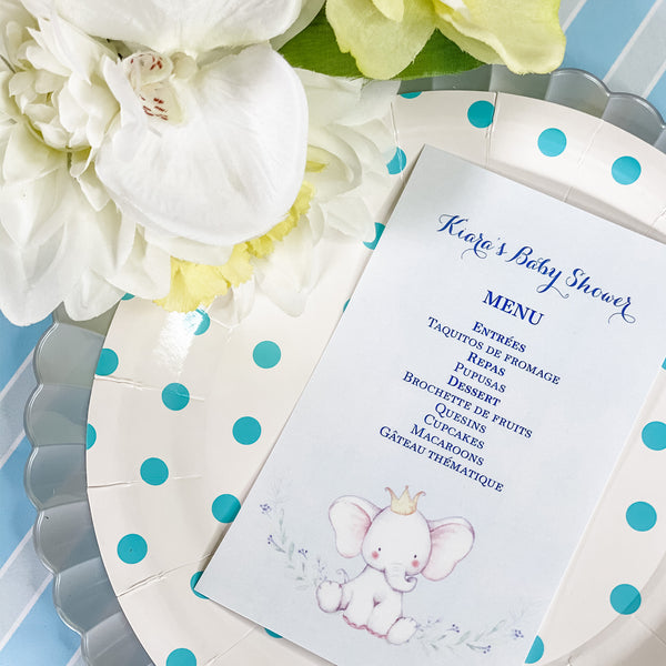 LITTLE PEANUT ON THE WAY- IT'S A BOY MENU CARDS