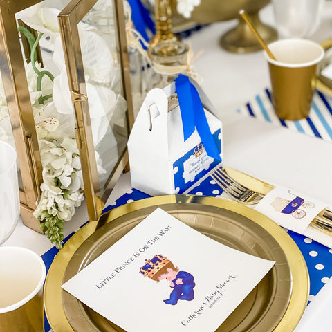 LITTLE PRINCE IS ON THE WAY -  IT'S A BOY ROYAL BABY SHOWER   PERSONALIZED PARTY IN A BOX