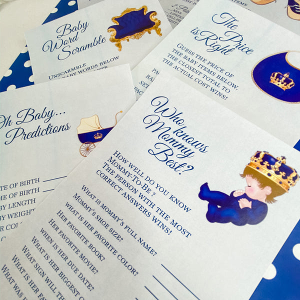 LITTLE PRINCE IS ON THE WAY - ROYAL BABY SHOWER GAME CARDS