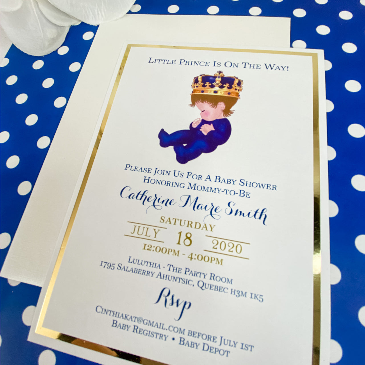 LITTLE PRINCE IS ON THE WAY -  IT'S A BOY INVITATION CARD
