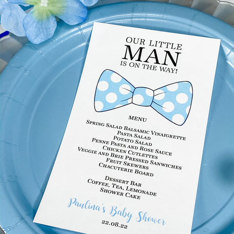 LITTLE MAN IS ON THE WAY BOWTIE MENU CARDS