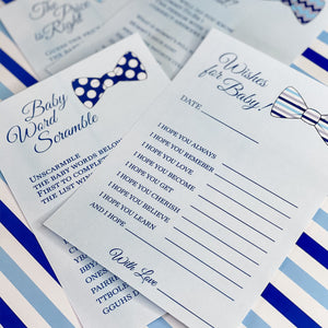 OUR LITTLE MAN IS ON THE WAY BOWTIE BABY BOY SHOWER GAME CARDS