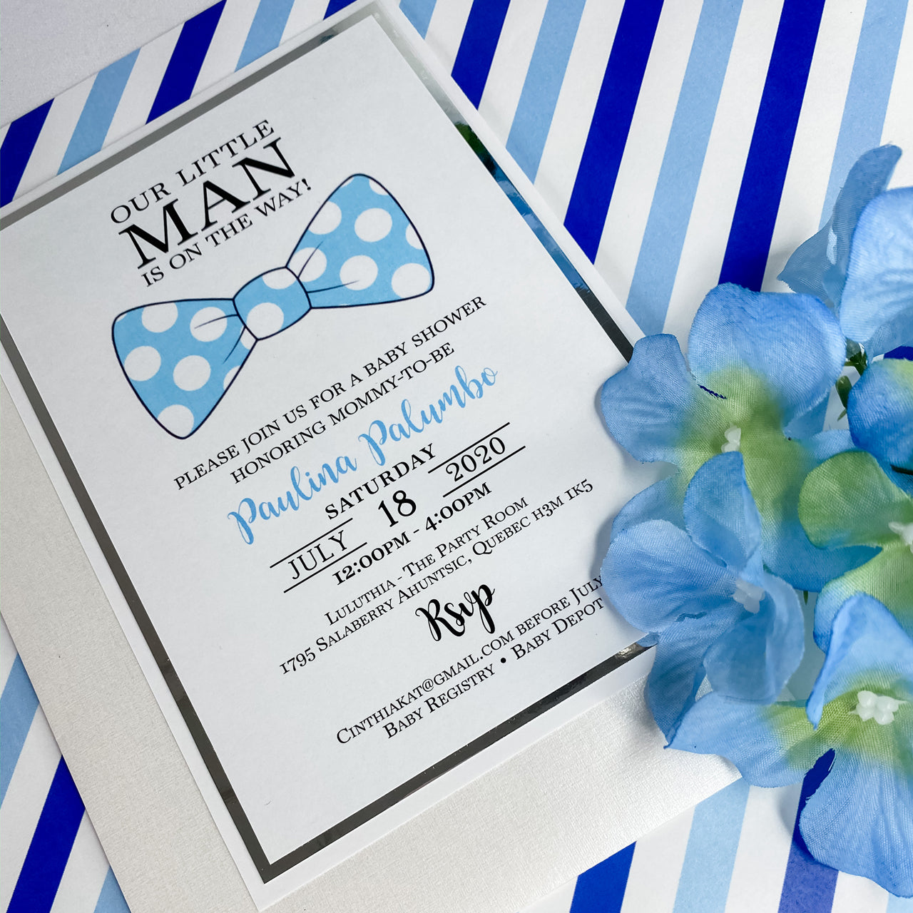 LITTLE MAN IS ON THE WAY BOWTIE INVITATION CARD