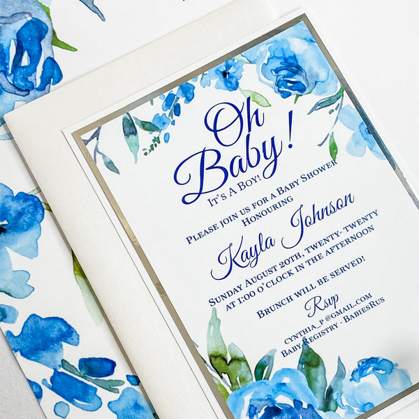OH BABY - WATER COLOR FLORALS IN SHADES OF BLUE  IT'S A BOY BABY SHOWER INVITATION CARD