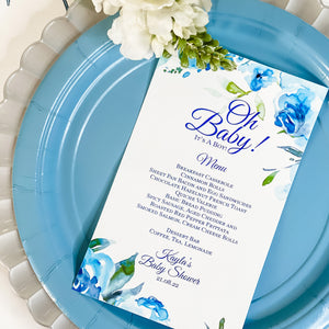 OH BABY - WATER COLOR FLORALS IN SHADES OF BLUE  IT'S A BOY BABY SHOWER MENU CARDS