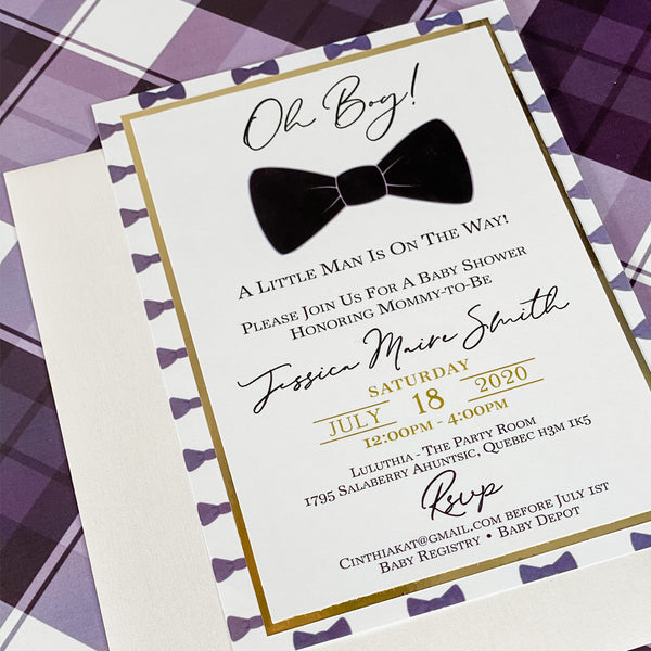 OH BOY! MODERN BOWTIE INVITATION CARD
