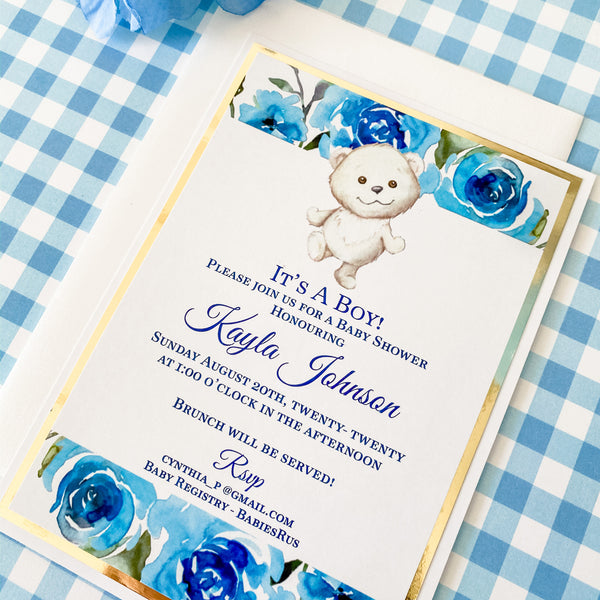 TEDDY BEAR IN THE GARDEN - ITS A BOY - BLUE WATER COLOUR FLORALS BABY SHOWER BOY INVITATION