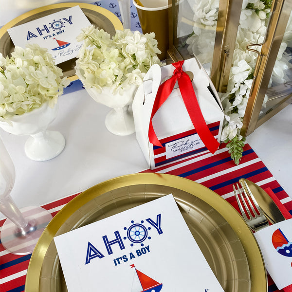 AHOY - IT'S A BOY  NAUTICAL BABY SHOWER PERSONALIZED PARTY IN A BOX