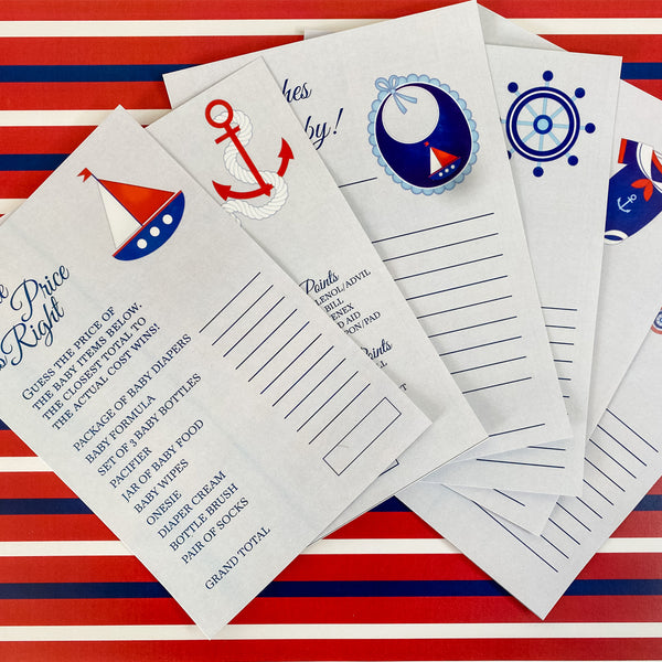 AHOY - IT'S A BOY NAUTICAL BABY SHOWER GAME CARDS