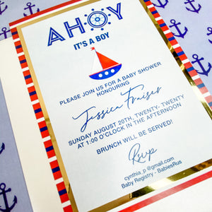 AHOY - IT'S A BOY NAUTICAL BABY SHOWER INVITATION CARD