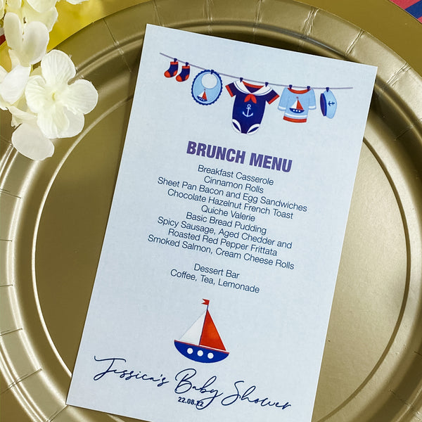 AHOY - IT'S A BOY NAUTICAL BABY SHOWER MENU CARDS