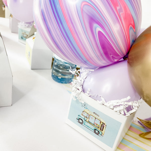 ICE CREAM TRUCK BIRTHDAY PARTY BALLOON CENTREPIECE FOR TABLE