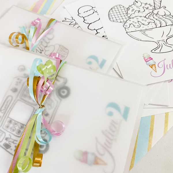 ICE CREAM TRUCK BIRTHDAY, BOY BIRTHDAY,  COLOURING SET PARTY FAVOUR
