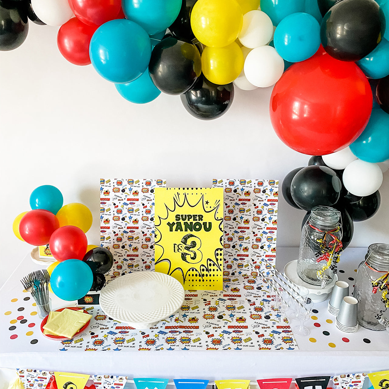 SUPERHERO BIRTHDAY BOY DESSERT & DRINK STATION BACKDROP