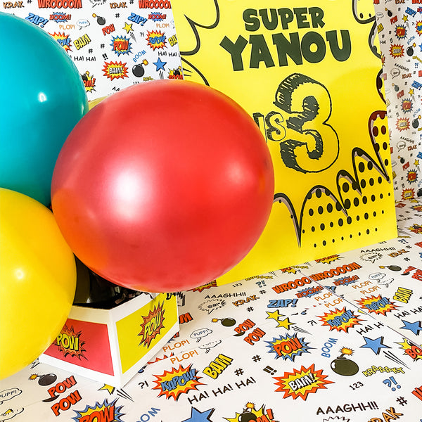 "SUPERHERO BOY BIRTHDAY PARTY 17"" x 33"" DESSERT & DRINK STATION BACKDROP"
