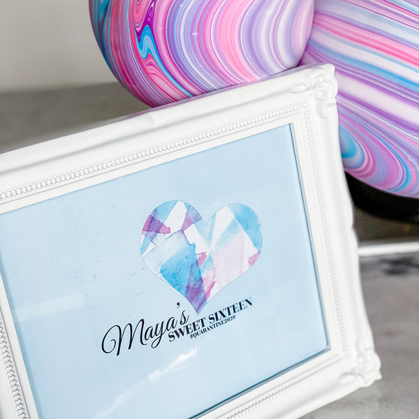 "SWEET 16 GEOMETRIC HEART BIRTHDAY PARTY 8"" X 10"" KEEPSAKE FRAME AND CUSTOM GRAPHIC"