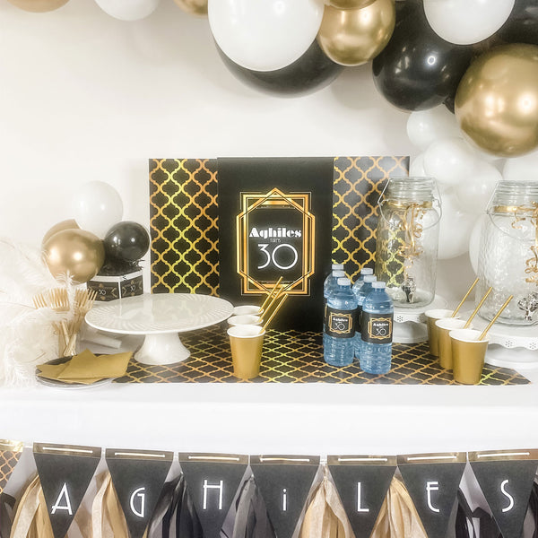 "The Great Gatsby roaring 20's … BIRTHDAY PARTY  17"" x 33"" DESSERT and DRINK station backdrop"