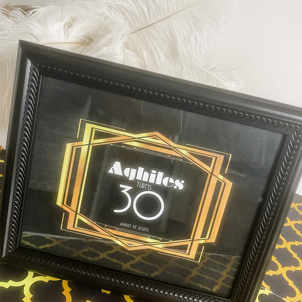 "The Great Gatsby roaring 20's … BIRTHDAY PARTY  8"" X 10"" KEEPSAKE FRAME AND CUSTOM GRAPHIC"