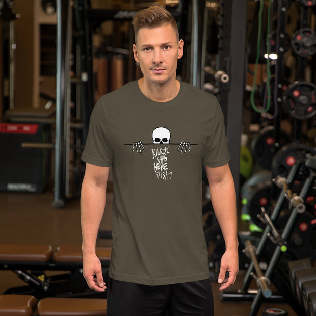 Kilroy Was Here White Lettering Short-Sleeve Unisex T-Shirt