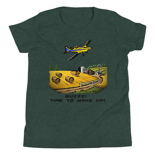 BUZZZ! TIME TO WAKE UP! AIRPLANE Youth Short Sleeve T-Shirt