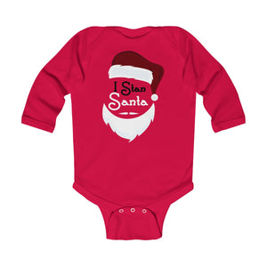 I Stan Santa Head: Infant Long Sleeve Onesie