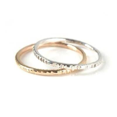 Notch Striped Stacking Ring: Gold & Silver