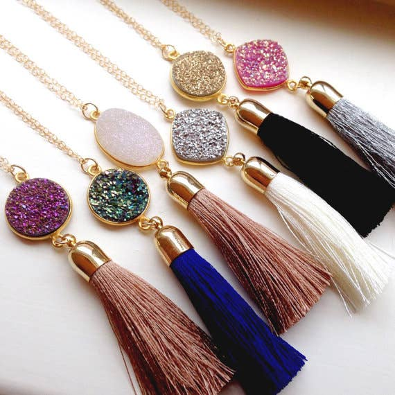 Druzy + Tassel Necklaces: Multiple Colors