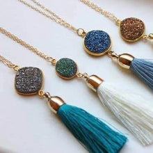Load image into Gallery viewer, Druzy + Tassel Necklaces: Multiple Colors