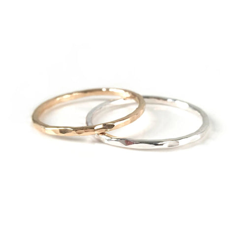 Hammered Band Stacking Ring: Gold & Silver