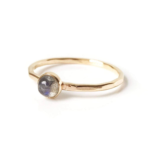 Labradorite Stacking Ring: Gold & Silver