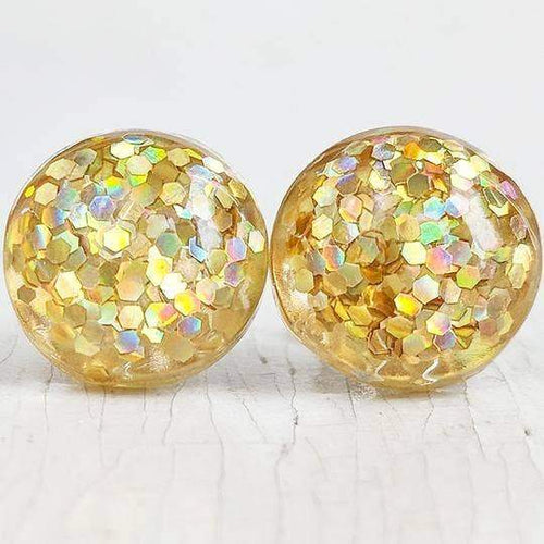 Glitter Bubble Studs: Gold + Silver