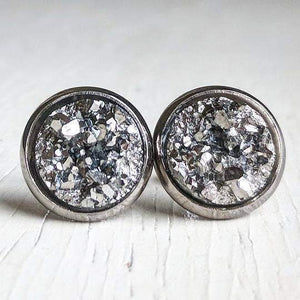 Round Druzy Studs: Multiple Colors