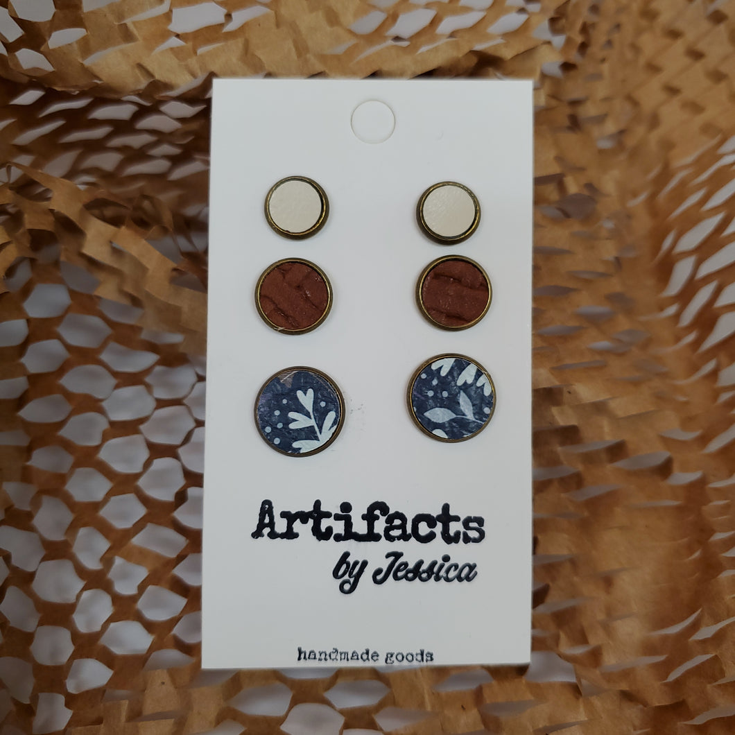 Leather Stud Earring Sets by Jessica: Multiple Designs