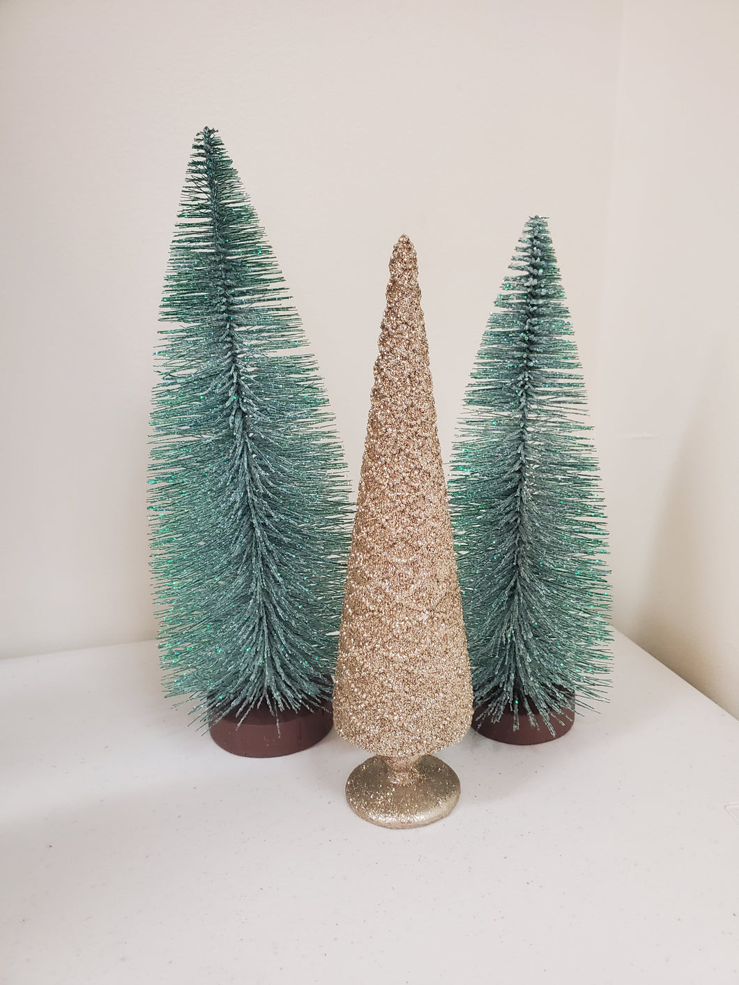 GREEN & GOLD TREES: SET OF 3