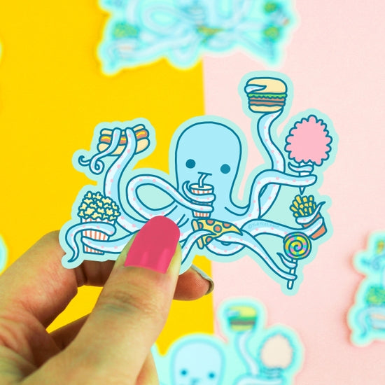 Hungry Octopus Vinyl Sticker